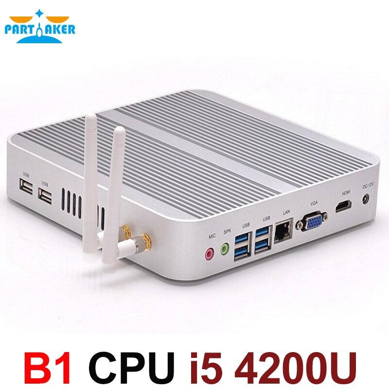Boîtier TV sans ventilateur 4 K HTPC ordinateur Nuc Mini PC I5 4200u avec Intel Core i5 4200U Max 16G RAM 512G SSD 1 to HDD Windows 10