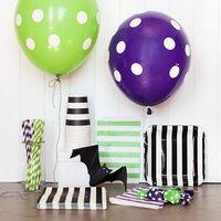 [PGP] Halloween Party Servies Kit, ballonnen Papier cups Rietjes Servetten Tassen Platen, voor Kids Decoratie Set, groen en Paars