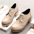 British punk style comfortable round toe oxfords shoes lace-up black yellow red beige medium heel big size women's shoes
