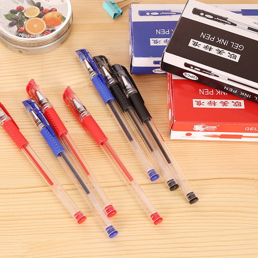 12 шт. нейтральной ручка Warhead 0,5 мм цвет: черный, Синий Красный воды ручка канцелярских углерода подпись