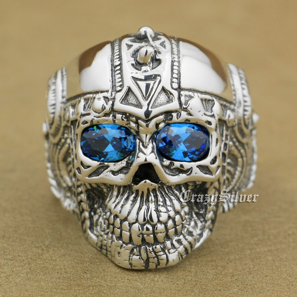 925 Sterling Silver Blue CZ Eyes Gothic Tattoo Skull Mens Biker Rocker Punk Ring 9G105 US