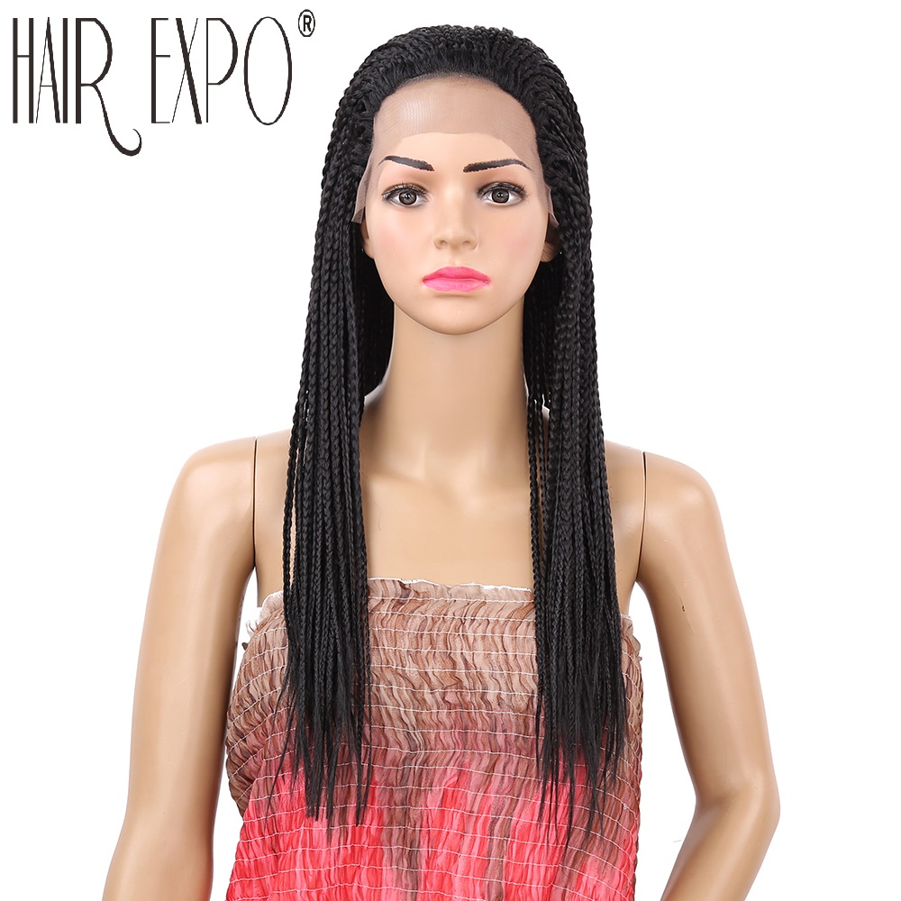 18inch Braided Lace Front Wigs Long Black Brown Box Braid Synthetic Wig 22inch Micro Twist Braid