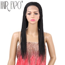 18inch Braided Lace Front Wigs Long Black Brown Box Braid Synthetic Wig 22inch Micro Twist Braid Wig for Women Hair Expo City