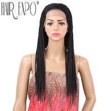 цены на 18inch Braided Lace Front Wigs Long Black Brown Box Braid Synthetic Wig 22inch Micro Twist Braid Wig for Women Hair Expo City  в интернет-магазинах