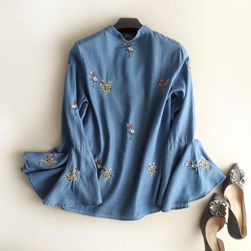 Lavé Chemises Casual Light dark Blue Denim Dame Bleu Femmes En Blouse Manches Longues Chemise Lâche Fshion Broderie Jeans Floral Blue Femelle mnOv8yN0Pw