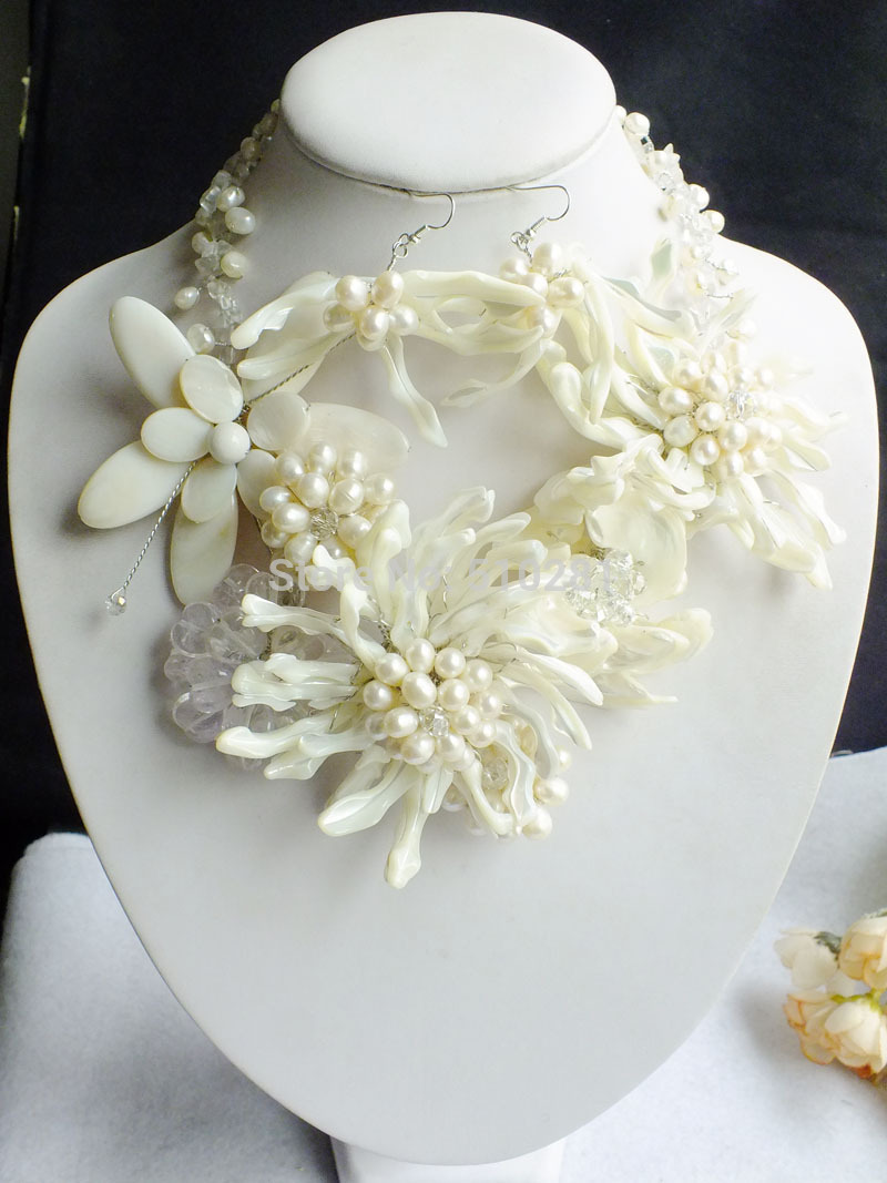 Fashon Shell Pearl Beads Necklace Pearl Set With Shell Flower Z 2602