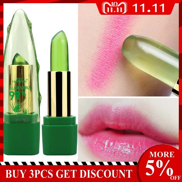 2019 New Batom 99% ALOE VERA Natural Temperature Change Color Jelly Lipstick Long Lasting Moistourizing Lip Makeup