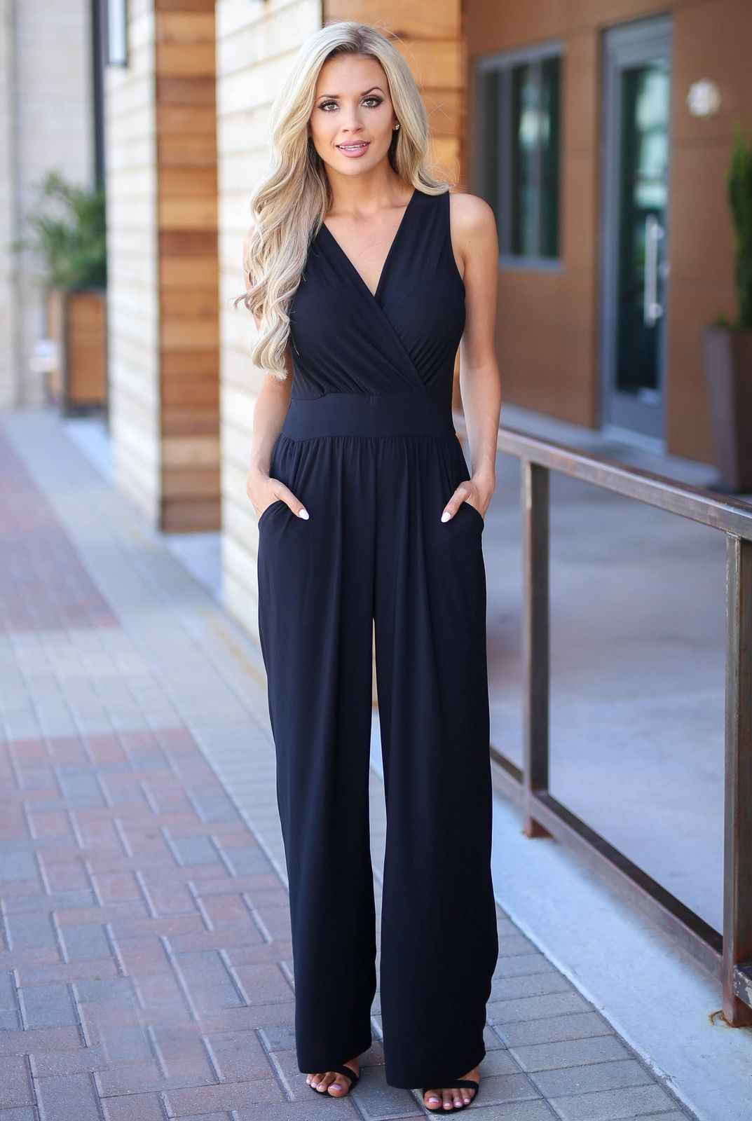 3b823a1664f5 ... New Women Jumpsuit Romper Bodycon Playsuit Elegant OL Sleeveless Solid  Color Casual Wide Leg Trousers Party ...