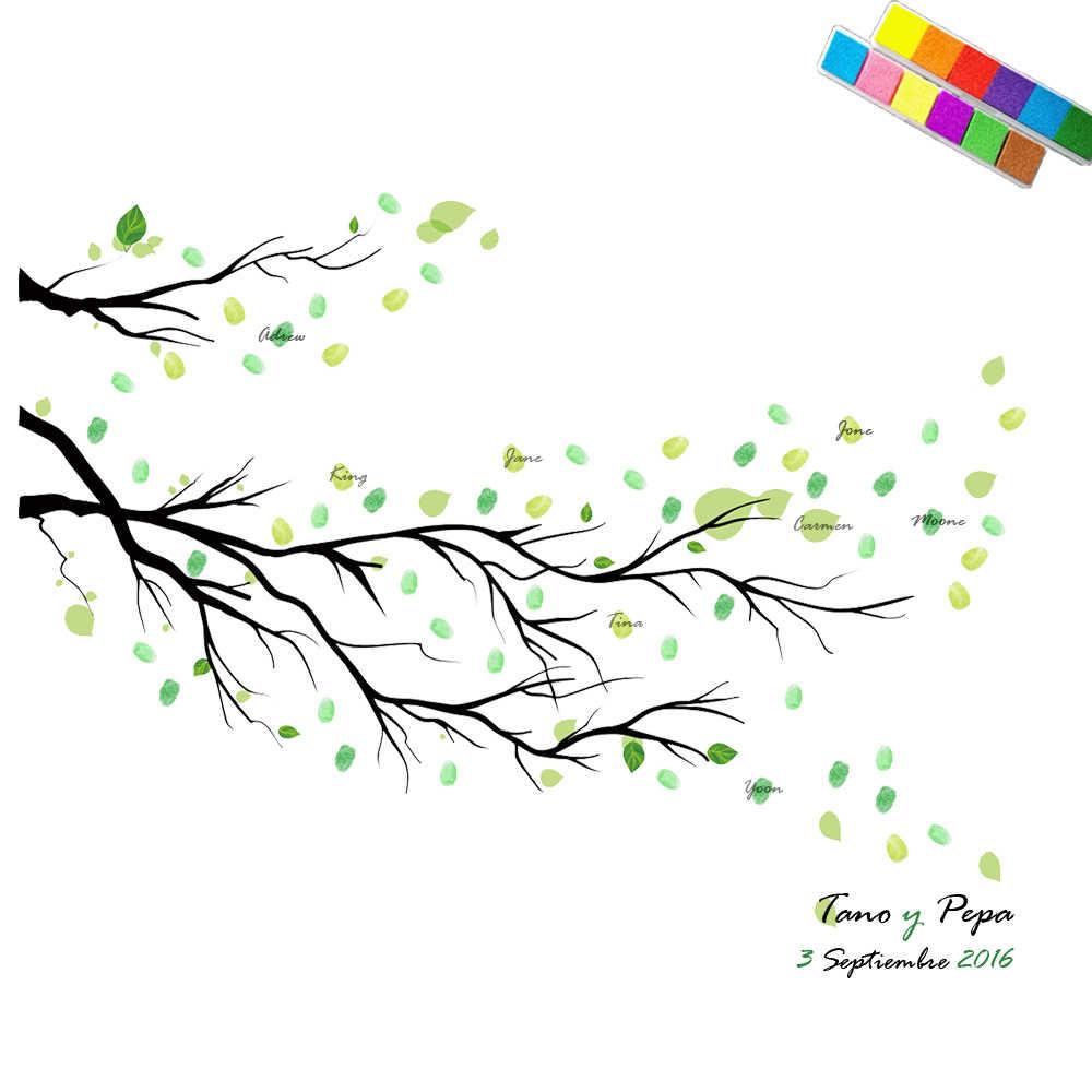 HAOCHU Mariage Casamento Livro de Visitas de Ano Novo de Aniversário Do Partido Dos Miúdos Lona Pintura Fingerprint Assinatura Árvore Início Decorações Presentes