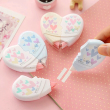 2pcs/set Love Heart Correction Tape Material Escolar Kawaii Stationery Office School Supplies Papelaria Correction Supplie