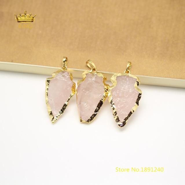 5pcs bulk natural pink quartz arrow pendants jewelryrough stones 5pcs bulk natural pink quartz arrow pendants jewelryrough stones plated gold bails raw crystals mozeypictures Images