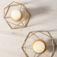 Gold Metal Candle Holders For Dinner Table Geometric lines Iron Art