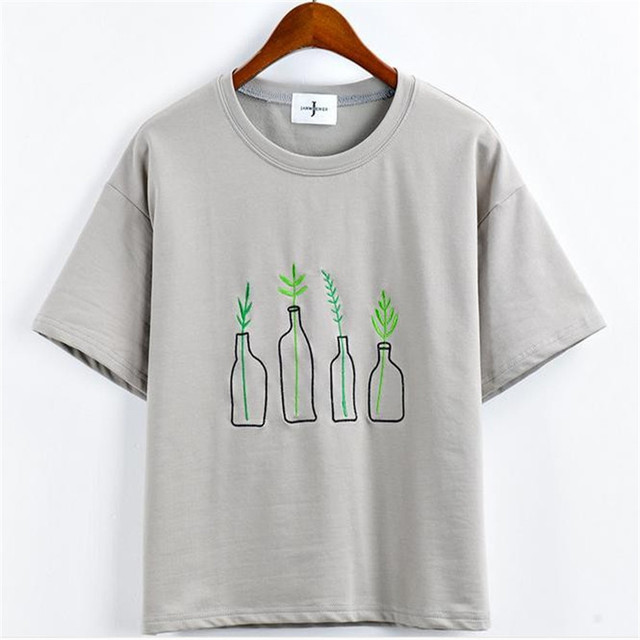 65909761312 New Summer Style Fashion Women Harajuku Bottle Plants Pattern T Shirts  Kawaii Cotton Embroidery Short Sleeve