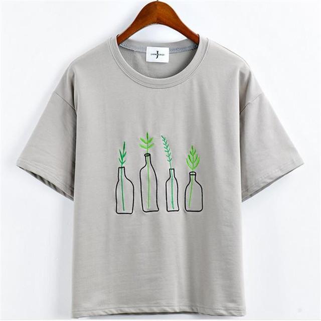Nuevo Estilo Del Verano Mujeres de La Moda de Harajuku Botella Plantas Patrón Camisetas Kawaii Bordado de Algodón de Manga Corta Camiseta Divertida Señora Tops