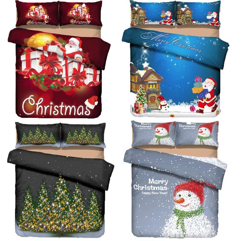 Merry Christmas Bedding Set 3D Pattern Santa Claus Davids Deer Duvet Cover Set Flat Bed Sheet Bedspread For Kids Children