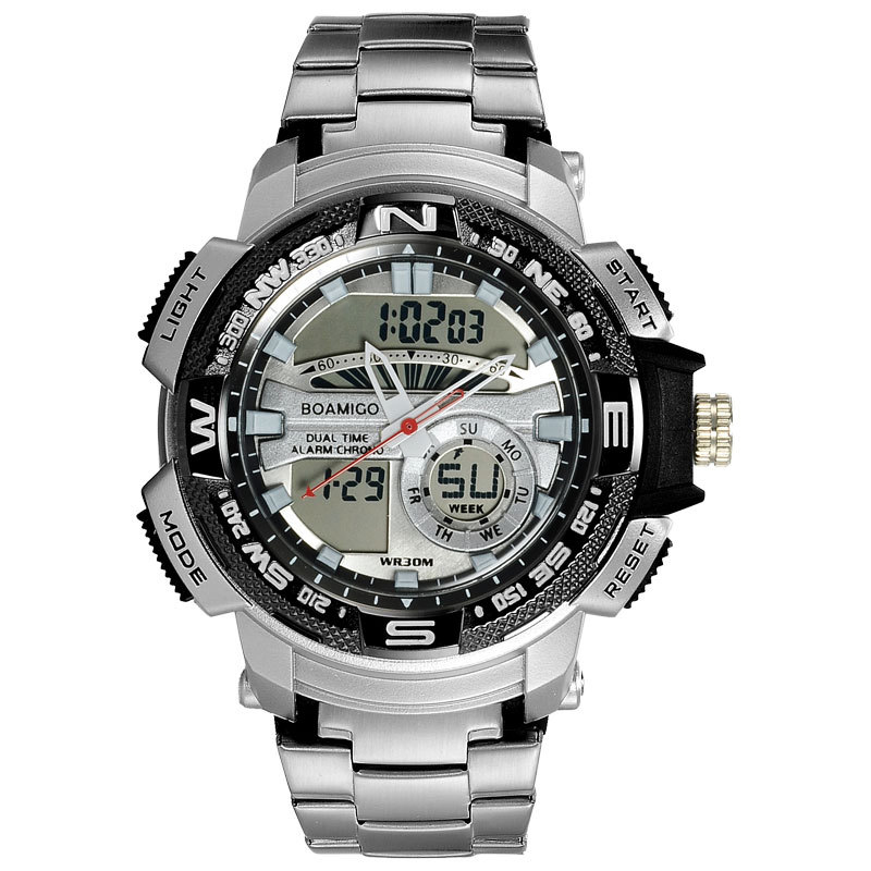 Watch Men Double Movement Display Multifunction Sports Digital Watch Waterproof Chronograph Calendar Quartz Watch Male Clock title=