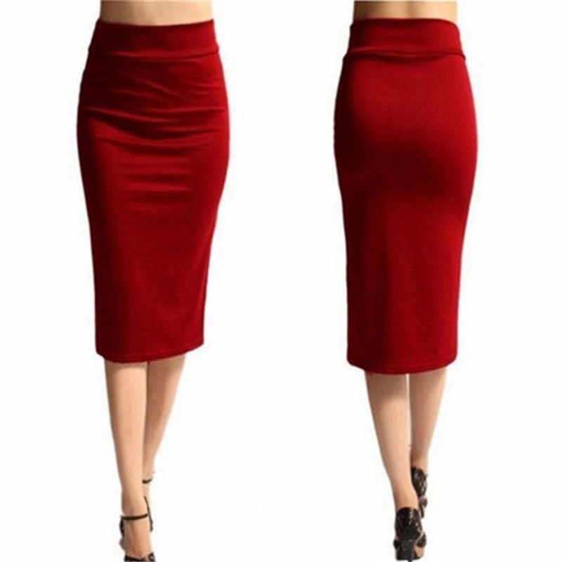 סקסי Slim עיפרון נשים חצאית 2019 חדשה באיכות גבוהה אופנה מקרית למתוח Bodycon Midi עיפרון חצאית OL גבירותיי תחתון אדום