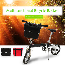 Black & Red Bicycle Basket Detachable Canvas Bike Handlebar Front Carrier Bag Cycling Pet Carrier Bags Cycle Accessories Bicicleta