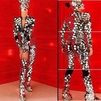 Блестящий зеркальный легкий цельный боди Женский сексуальный кот певец DJ DS танцевальный костюм наряд круглый зеркальный комбинезон