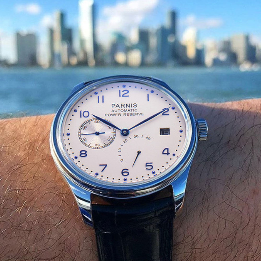 43mm Parnis White Dial Date New Arrival Parnis Mechanical Watches Power Reserve Seagull Steel Automatic Watch men's Watch original binger mans automatic mechanical wrist watch date display watch self wind steel with gold wheel watches new luxury