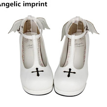 Cosplay Shoes Mid-Heels Angelic Imprint Lolita Mori Girl Pumps Princess-Dress Woman Lady