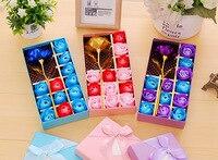 50 комплектов золота Фольга розы Свадебные украшения статьи творческий подарок на день рождения для леди руководство Мыло цветок подарочно...