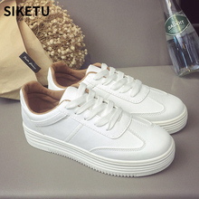 New tenis feminino white shoes Thick bottom woman flat PU Leather Female Cake bottom shoes Board casual women shoes sneakers 2018 new spring and summer tenis feminino white shoes woman flat pu leather female shoes board casual women shoes sneakers