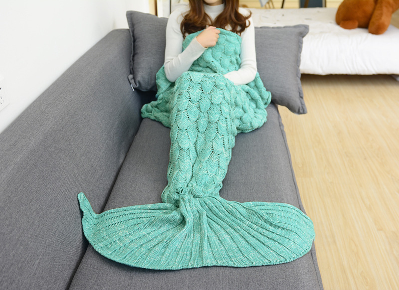 CAMMITEVER Green Mermaid Tail Blanket Comfortable Handmade Crochet Mermaid Blanket Kids Adult Throw Bed Wrap Soft Sleeping in Blankets from Home Garden