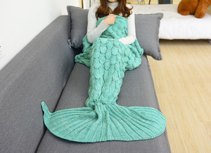 Image 2 - CAMMITEVER Green Mermaid Tail Blanket Comfortable Handmade Crochet Mermaid Blanket Kids Adult Throw Bed Wrap Soft Sleeping