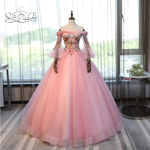 04820802a4b47 Vintage Pink Ball Gown Long Prom Dresses 2018 Off Shoulder 3D Floral Lace  Tulle Long Sleeve Formal Evening Party Gown Custom