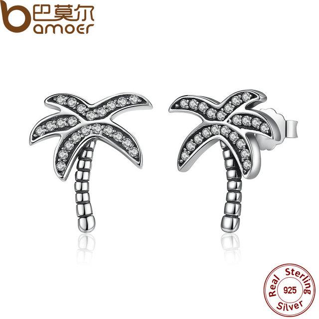 Sterling Silver Palm Tree Stud Earrings