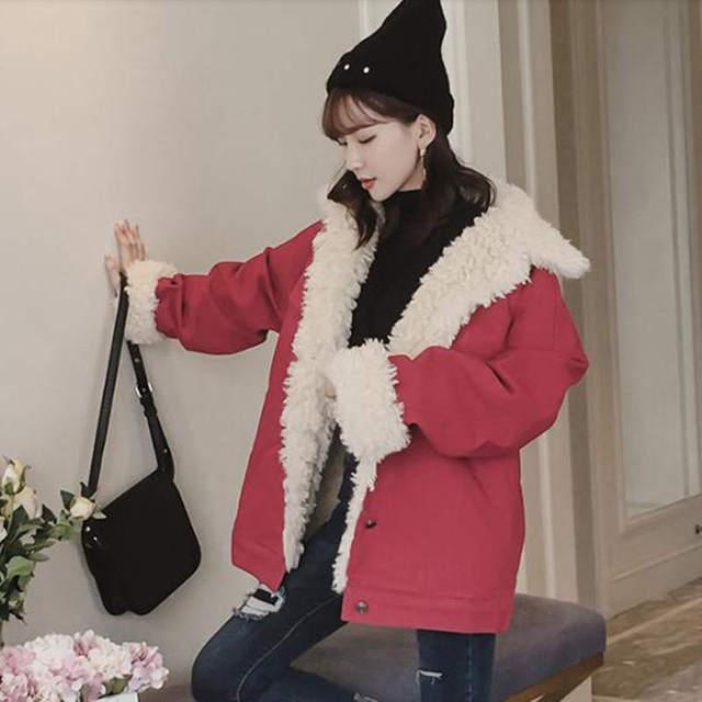 Fashion Lambs Wool Jacket Women Fur Collar Women Jackets Red Beige White Cotton Padded Winter Jacket Women Soft Warm Parka C5028 1