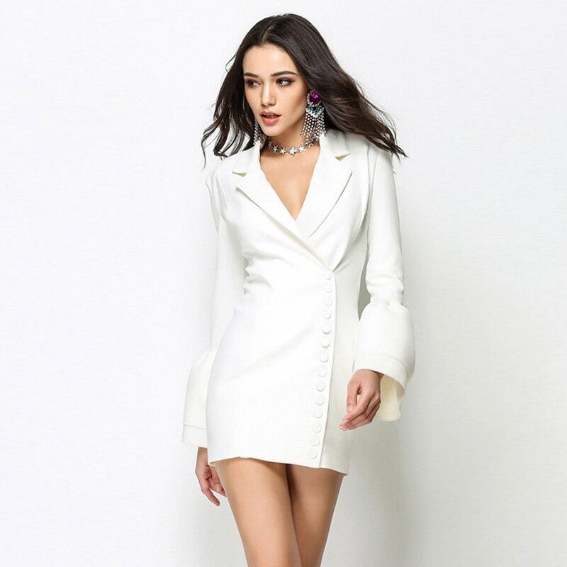 Femmes Bureau Poitrine Dames V Élégant Blanc De 2019 Unique Blazer Costume Slim Parti Ruches Robes Profonde Black white Nouveau Manches Sexy Robe Fit CZdOwqOx