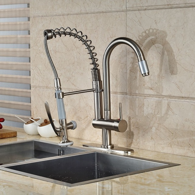 Spring Style Kitchen Faucet 2 Spout Hand Shower Mixer With Cover Plate Nickel Brushed