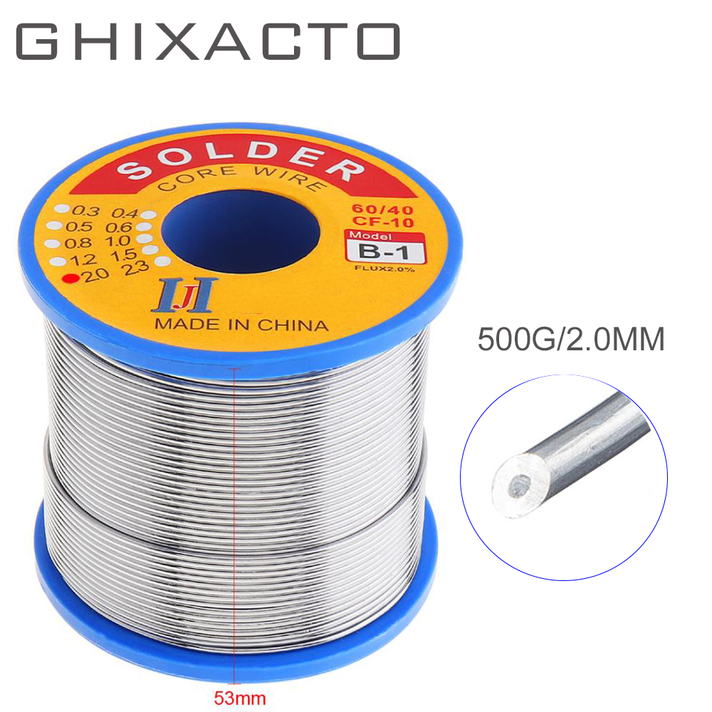 GHIXACTO 500g Tin Lead Solder Wire 0.5/0.8/1/2.0MM 60/40 FLUX 2.0% Melt Rosin Core Solder Soldering Wire Roll