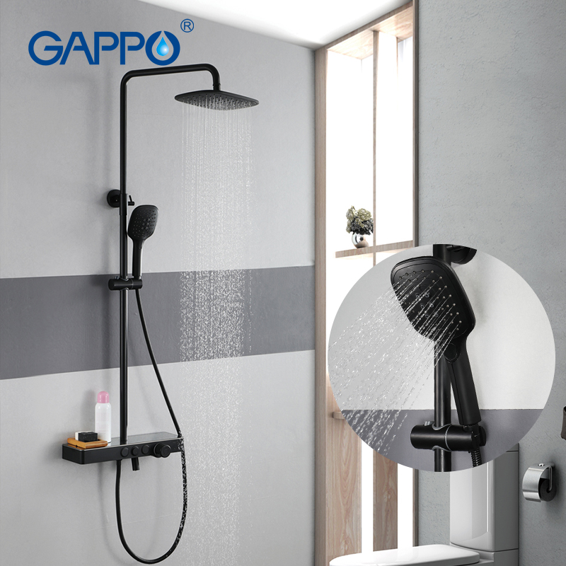 GAPPO brass and stainless steel rainfall shower system shower Faucets 3 function shower faucet mixer tap