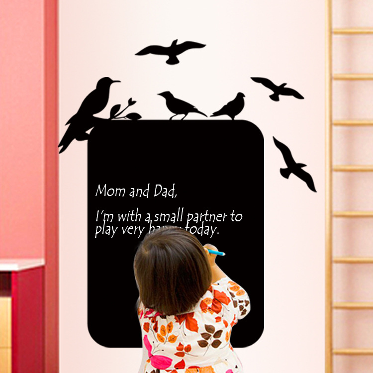 Students' Creative Blackboard Wall-decoration Stickers Living Room Children's Room Office Walls A Solid Color Bird House