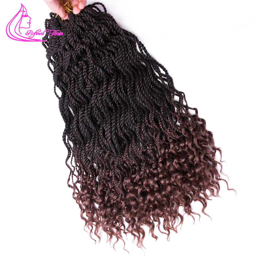 "Refined Ombre Crochet Hair Curly Senegalese Twist 18"" 24"" Synthetic Crochet Braids 24Roots Braiding Hair Extensions"