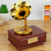 Home Decor Music Box Classical Trumpet Horn Turntable Gramophone Art Disc Music Box Vintage & Make up Case &Jewelry Box New gift