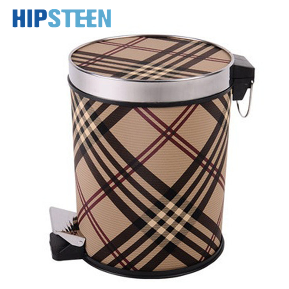 HIPSTEEN 10L High Quality Retro Trash Can Grape Vine Pattern Classic Foot Pedal Waste Paper Basket Home&Office Garbage Bin