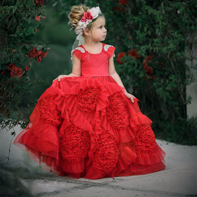 2017 New Puffy Hot Flower Girl Dress for Weddings Red Tulle Ball Gown Girl Party Communion Dress Pageant Gown with Cap Sleeves lovely new puffy flower girl dresses beaded overskirts floor length first communion dress pageant birthday gown 2017 custom new