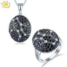 Hutang Gemini Black Spinel Jewelry Sets Pendant Ring 925 Silver Sign Fine Jewelry for Women's Best Gift 21th May Until 21th June(China)