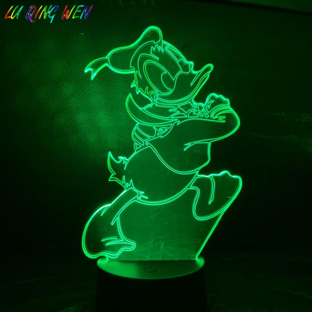 Cartoon Donald Duck 3D Night Light LED USB Touch Sensor Hoom Decorative Lights Child Kids Baby Nightlight Donald Duck Night Lamp