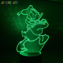Cartoon Donald Duck 3D Night Light LED USB Touch Sensor Hoom Decorative Lights Child Kids Baby Nightlight Lamp