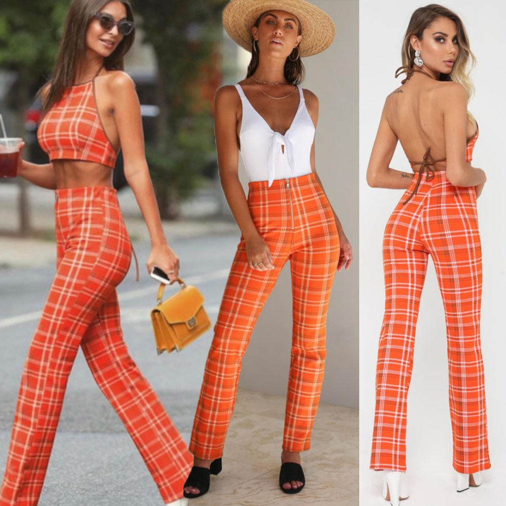2PCS Set Sexy Women Outfits High Street Plaid Sleeveless Crop Tops and Long Skinny Pants Set Women Summer Sweatsuit