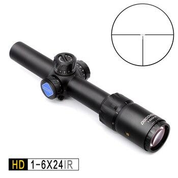 Обнаружение HD 1-6X24 IR длинный глаз рельеф тактический прицел для винтовки для охоты оптическая боковая иллюминация R & G прицел fit 30-06 308 AR15