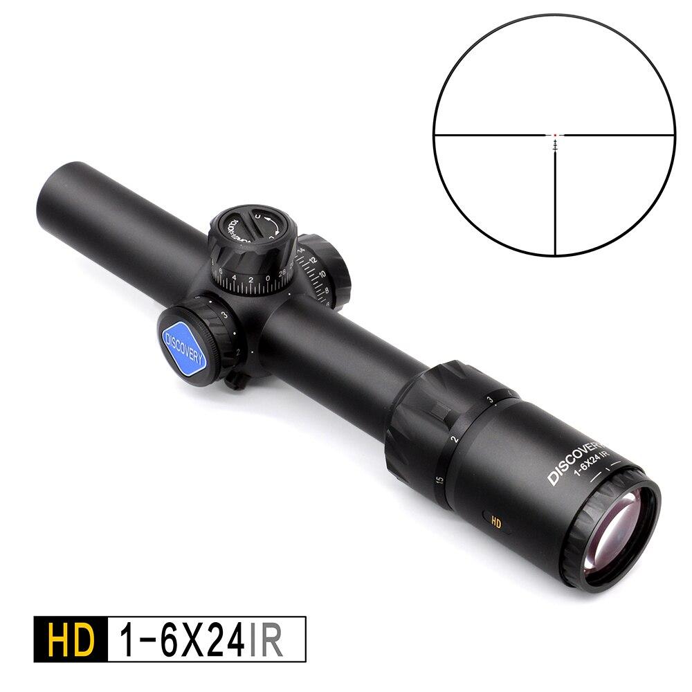 Descubrimiento HD 1-6X24 IR largo ojo alivio caza rifloscopio táctico visión óptica iluminada R & G Rifle alcance fit 30 -06 308 AR15