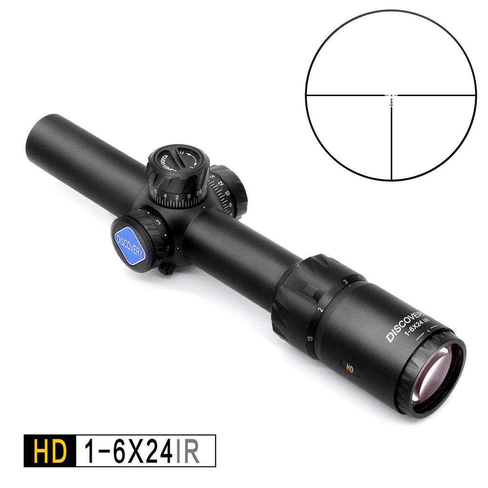 Discovery HD 1-6X24 IR Long Eye Relief Hunting Riflescope Tactical optical sight Illuminated R&G Rifle Scope fit 30-06 308 AR15