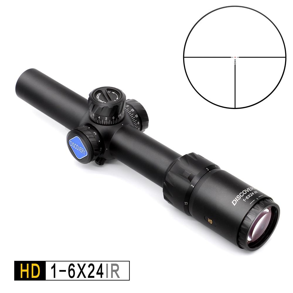 Discovery HD 1-6X24 IR de Longo Eye Relief Rifle de Caça Riflescope mira óptica Tático Iluminado R & G Âmbito ajuste 30 -06 308 AR15