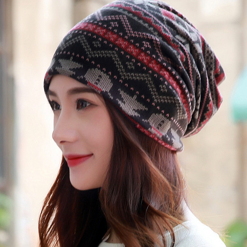 1ad61ceaa1b7d US $2.99 40% OFF|LongKeeper Fashion Women Vintage Knit Women Scarf Hat 2  Used Winter Warm Casual Patchwork Lady Beanie Girl's Gorros Sale-in  Skullies ...